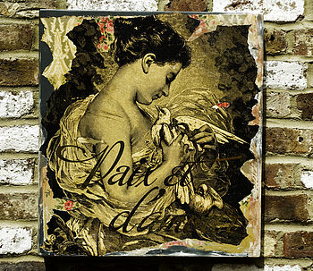 'Paix Et D'Amour' Wooden Distressed Collage Art Board