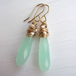 Sea Glass And Pearl Earrings - earrings