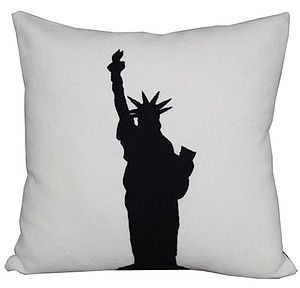 Monochrome Statue of Liberty Cushion - living room