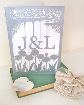 Silver Hand-Cut Initials Wedding Card