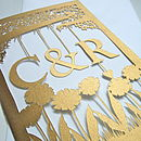 Gold Hand-Cut Initials Wedding Card