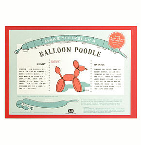 Balloon Poodle Card - stocking fillers under £15