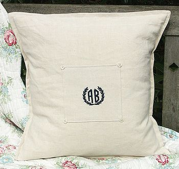 Personalised Vintage French Linen Cushion