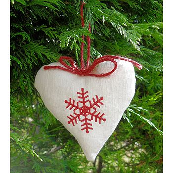 Vintage French Linen Christmas Heart