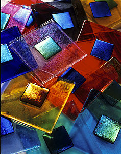 Handmade Iridescent Glass Tile