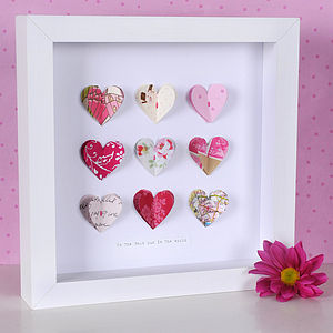 Personalised Wedding Paper Hearts Artwork - mixed media & collage