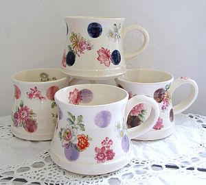 Hand Thrown Spots And Flowers Mug