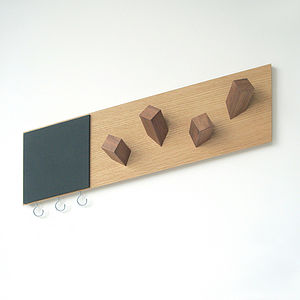 Wooden Parallel Coat Hooks And Chalk Board - storage & organisers