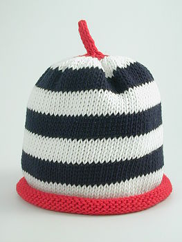Navy, Cream And Red Striped Merry Berries Hat