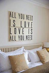 'All You Need Is Love' Wooden Sign - living room