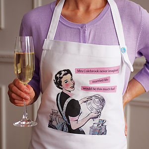 Personalised Married Life Apron - 2nd anniversary: cotton