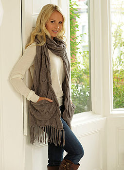 Big Pocket Chunky Cable Scarf Now £58