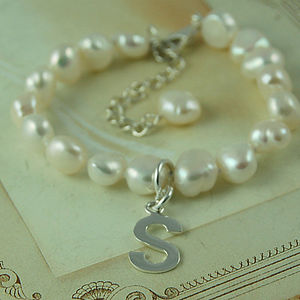Personalised Girl's Pearl Bracelet with Initial - christening jewellery