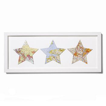 Trio Of Vintage Map Stars
