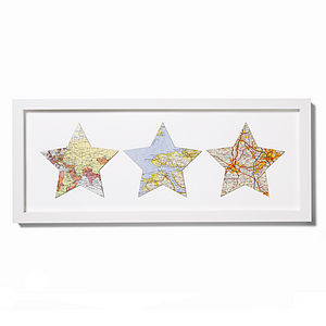Trio Of Vintage Map Stars - mixed media & collage