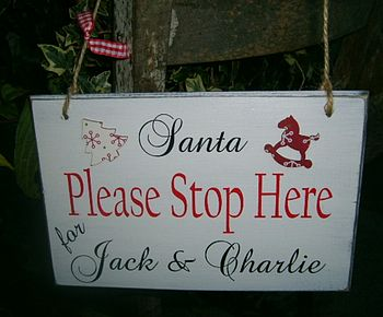 Personalised Vintage Santa Stop Here Sign