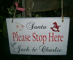 Personalised Vintage Santa Stop Here Sign - outdoor decorations