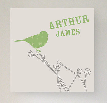 Personalised name canvas: Green bird