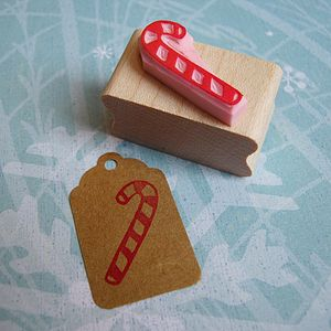 Candy Cane Christmas Hand Carved Rubber Stamp - cards & wrap