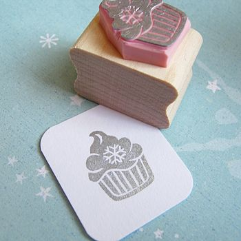 Snowflake Cupcake Hand Carved Rubber Stamp