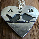 Personalised Silver Love Birds Heart Necklace