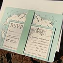 Duck Egg Vintage Wedding Invitation and RSVP set