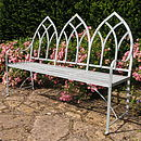 Gothic wrought iron bench in Pigeon Blue
