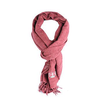 Hand woven silk scarf burgandy