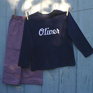Personalised Brushed Cotton PJ Red/Wht/Blue - clothing