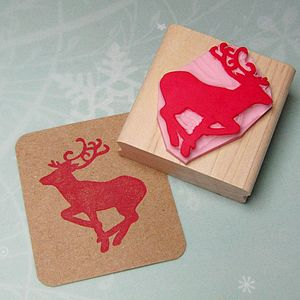 Winter Stag Hand Carved Rubber Stamp - cards & wrap
