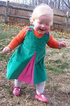 Pea-raspberry corduroy contrast pleat dress