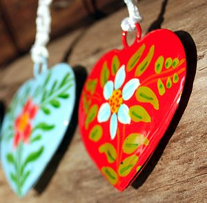 Set Of Three Hand Painted Hanging Hearts - decorative accessories