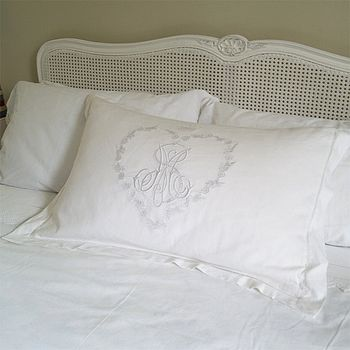 White Hand Embroidered Monogram Pillowcase