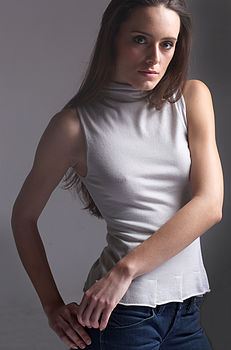 Cashmere Sleeveless Roll Neck Top (dove grey)