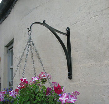 Wrought iron hanging basket bracket