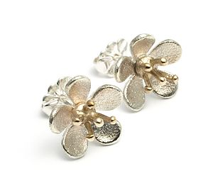 Sterling Silver And 9ct Gold Cherry Blossom Earrings - earrings