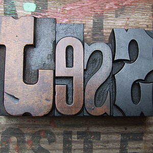 Original Vintage Letterpress Printers Blocks Medium - room decorations