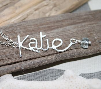 Personalised Name Pendant With Gemstone
