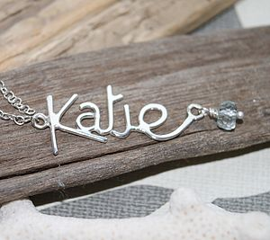 Personalised Name Pendant With Gemstone - children's jewellery