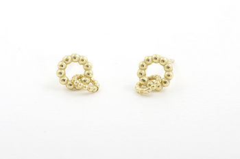 Ball Two Circles Stud Earrings 18ct Gold