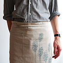 Linen Waist Apron With Flowers