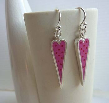 Dotty Heart Drop Earrings