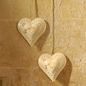 Hanging Heart Tea Light Holder - candles & candlesticks