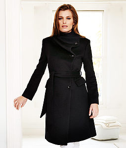 Cashmere Funnel Neck Coat 30% OFF