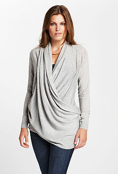 Cashmere Infinity Cardigan in grey (hip drape)