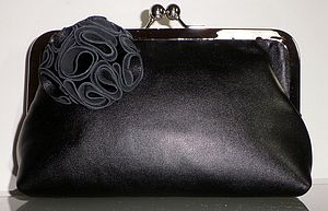 Ruffelle Adele Black Leather Clutch Bag - bags & purses