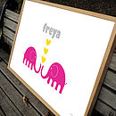 'Elephant Sweethearts' Personalised Poster (pink colour)