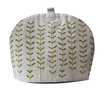 Hand Made Tea Cosy Green Sprigs