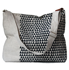 Linen Shoulder Bag With Indigo Triangles
