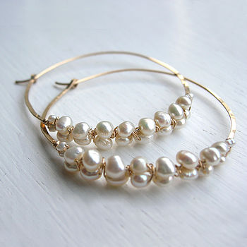 Fresh Water Pearl Woven Hoop Earrings